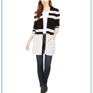 Black and white chenille cardigan sweater